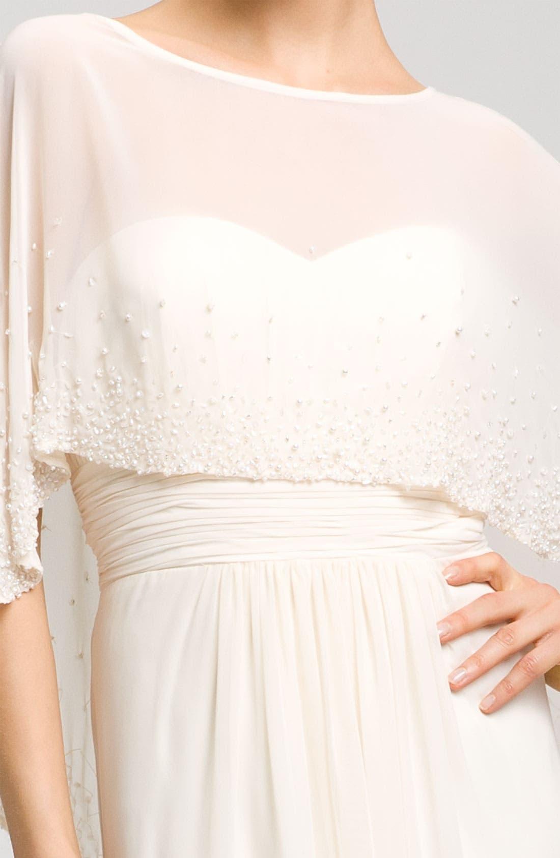 Alternate Image 4  - Aidan Mattox Sweetheart Gown & Beaded Cape