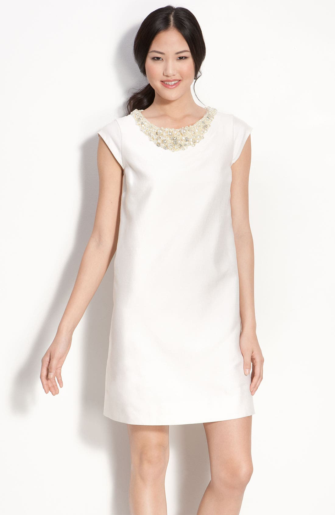Main Image - kate spade new york 'nico' embellished silk shift dress
