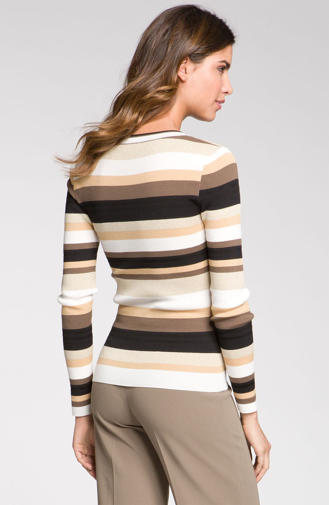 Alternate Image 2  - St. John Collection Stripe Scoop Neck Sweater