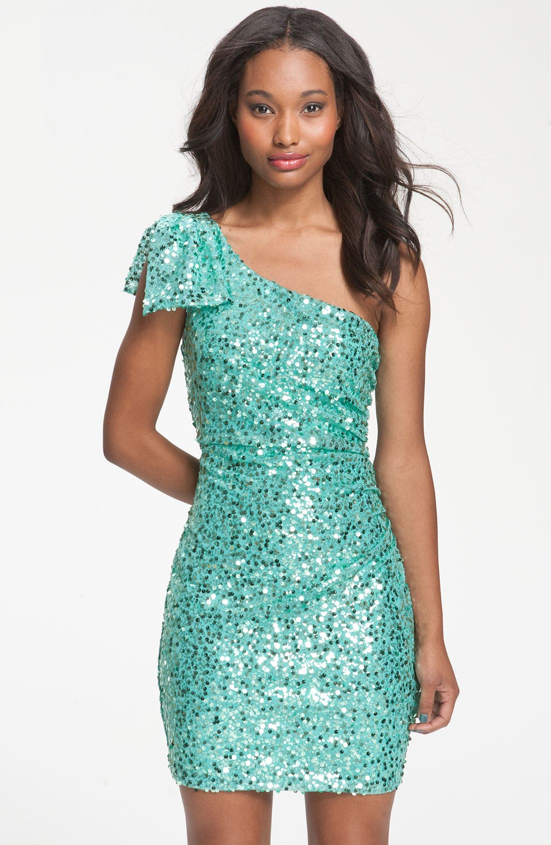 Alternate Image 1 Selected - Way-In Bow Accent One-Shoulder Sequin Dress (Juniors)