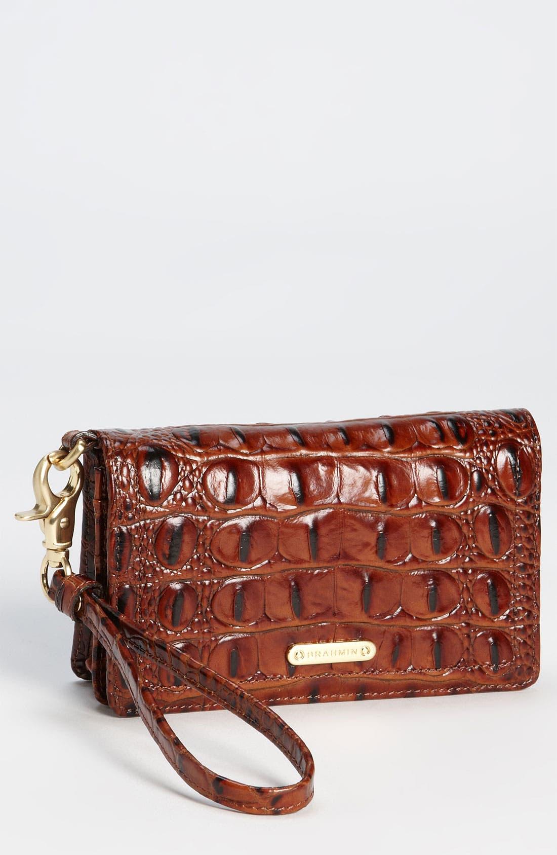 Alternate Image 1 Selected - Brahmin 'Debi' Croc Embossed Leather Wristlet
