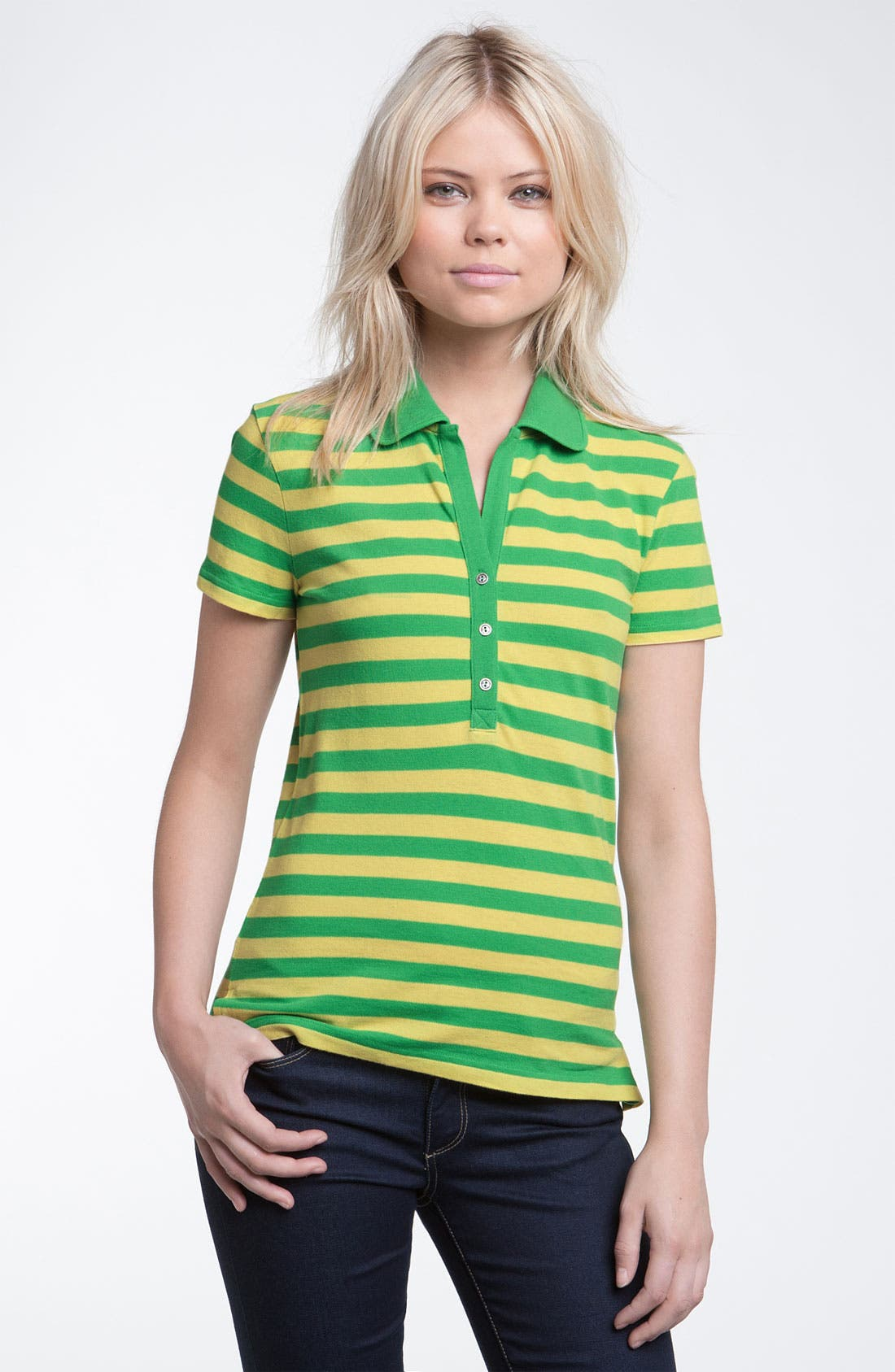 Main Image - Stem Stripe Organic Cotton Polo