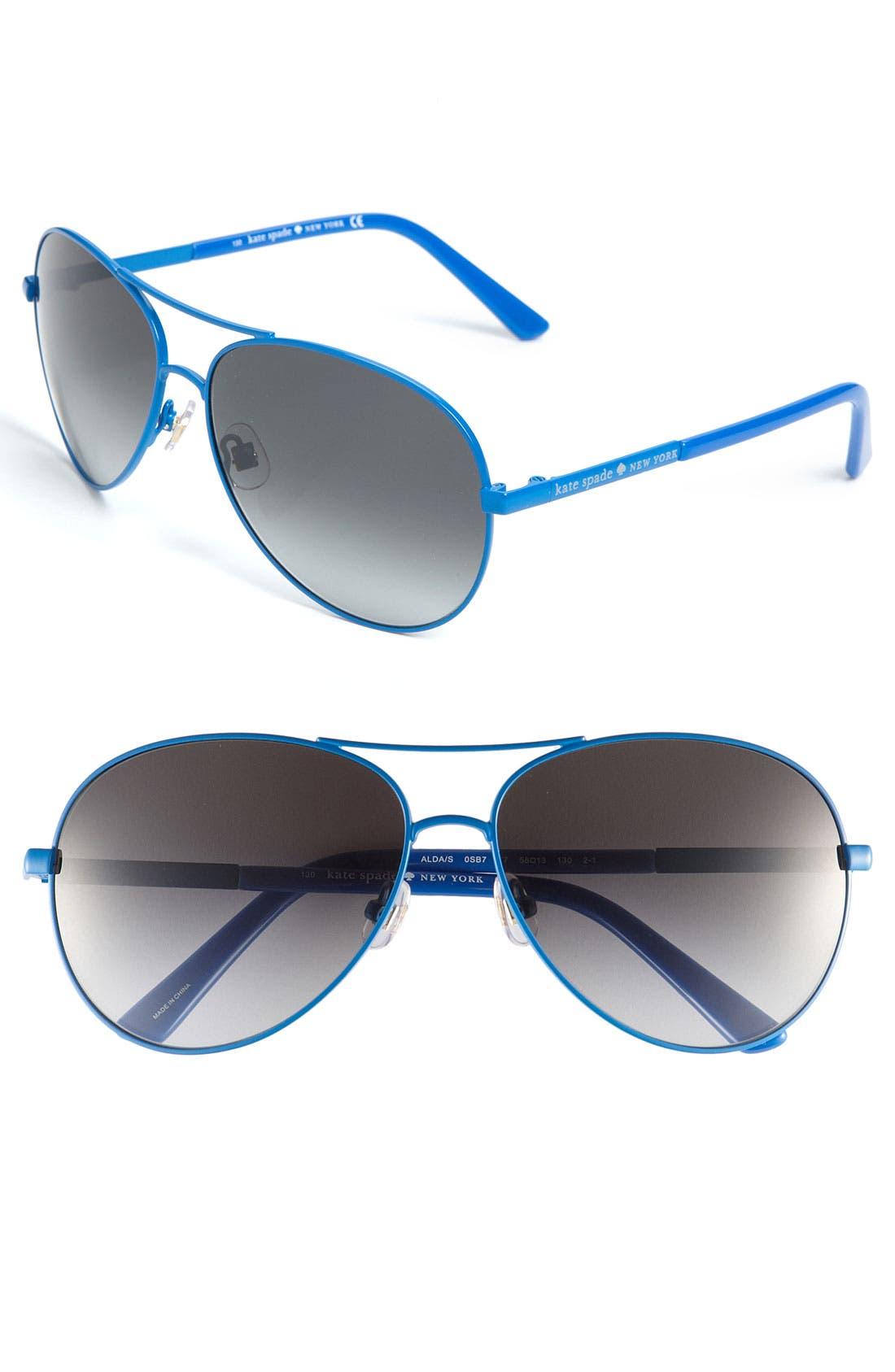 Alternate Image 1 Selected - kate spade new york metal aviator sunglasses