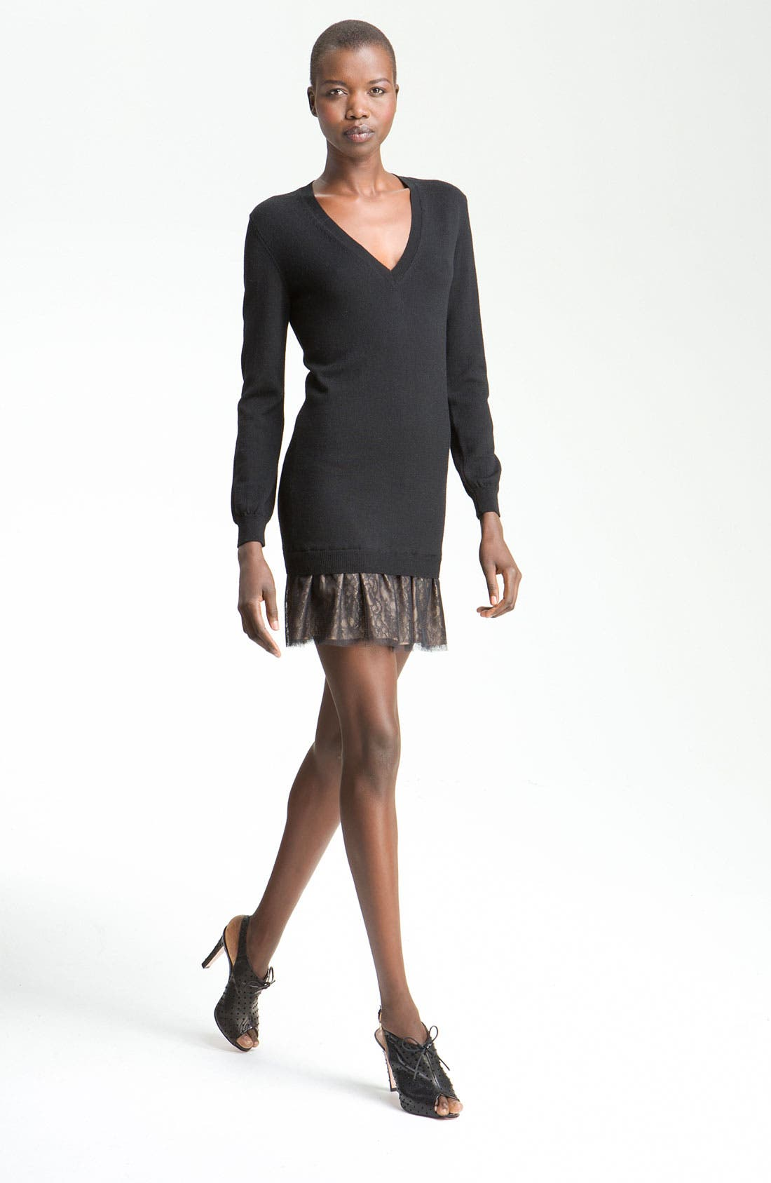 Alternate Image 1 Selected - RED Valentino V-Neck Sweater Dress