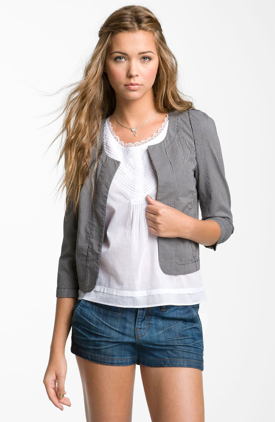 Railroad Stripe Crop Blazer,                             Main thumbnail 1, color,                             Cream- Bone/ Grey- Ebony
