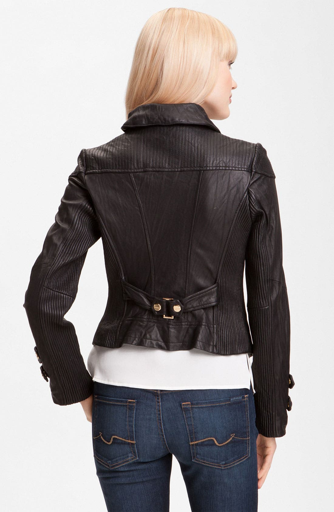 Alternate Image 2  - bebe Leather Moto Jacket