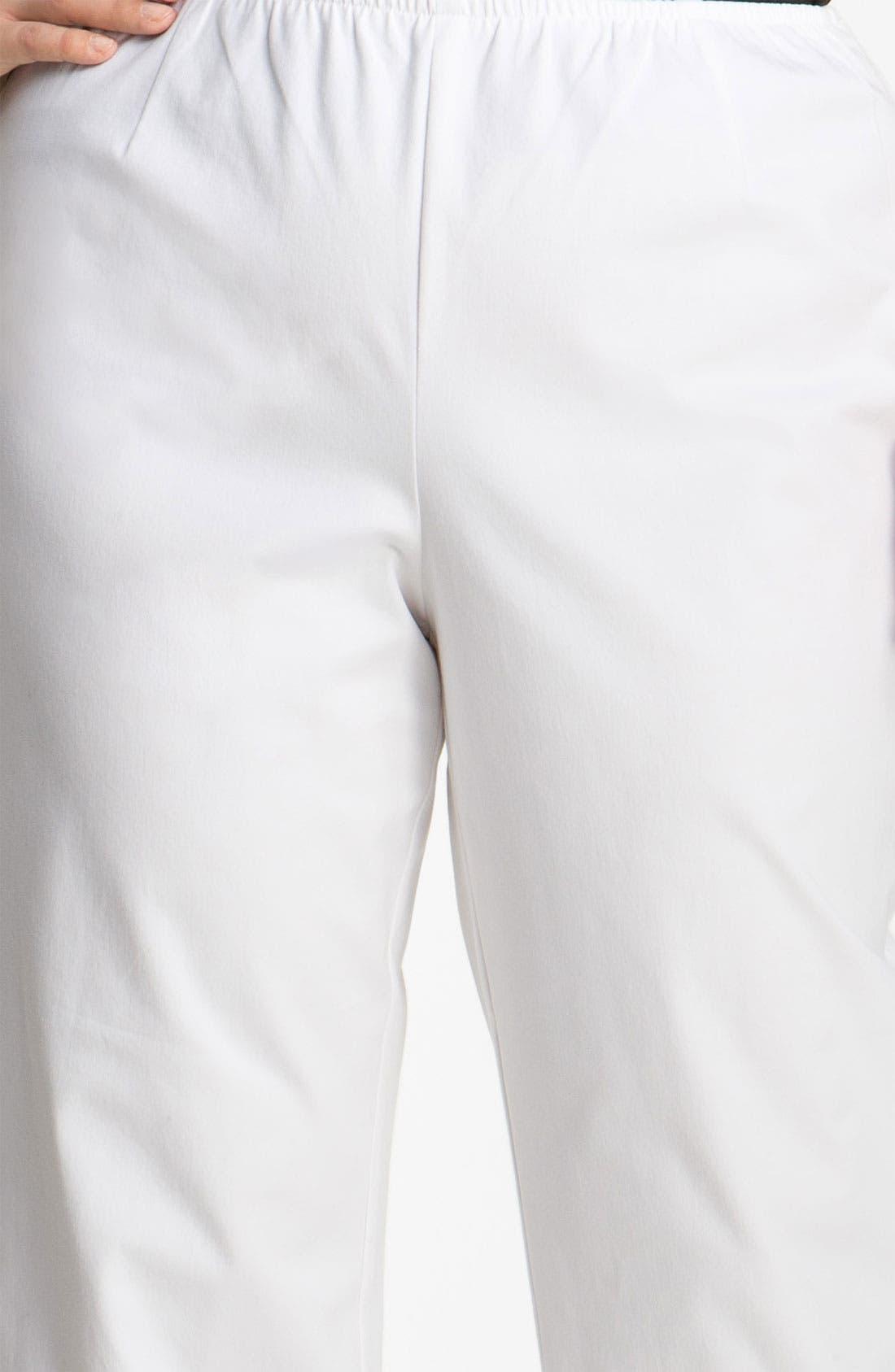 Stretch Organic Cotton Ankle Pants,                             Alternate thumbnail 3, color,                             White