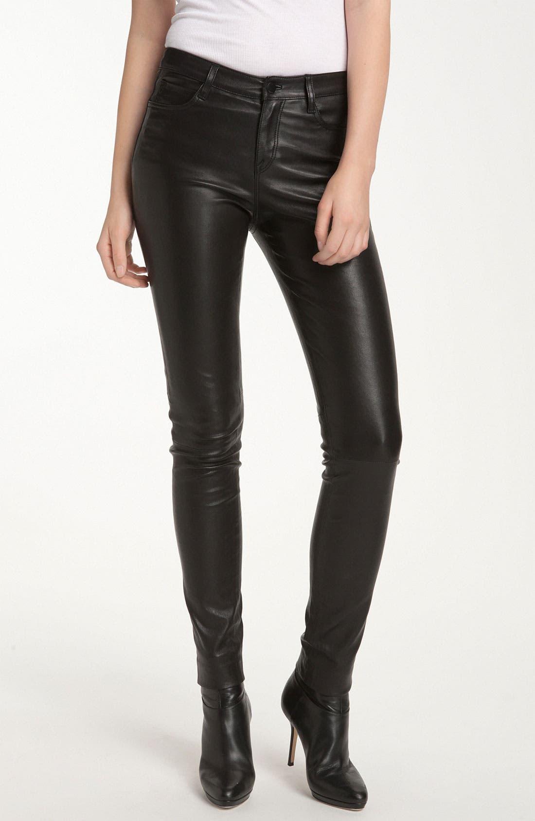 Leather Jeans,                         Main,                         color, Black