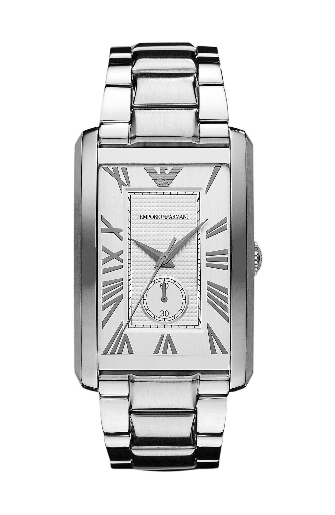 Main Image - Emporio Armani 'Classic - Large' Rectangular Dial Watch, 31mm