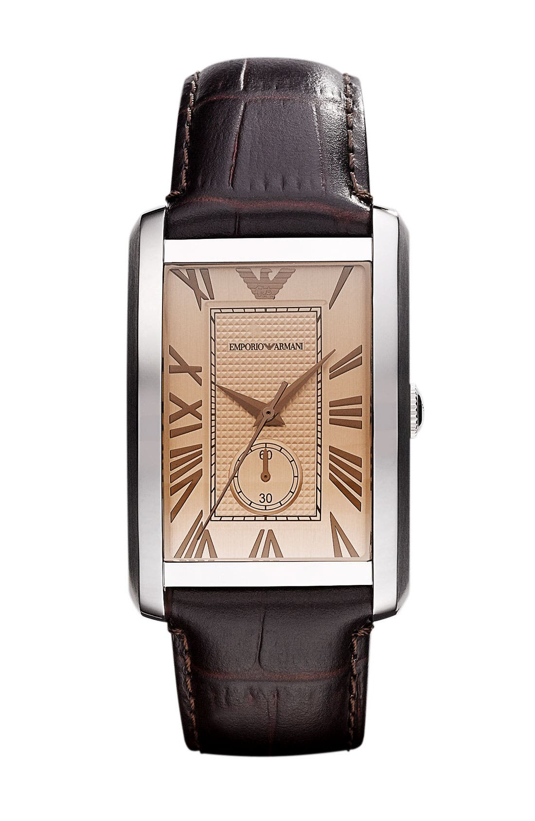 Alternate Image 1 Selected - Emporio Armani 'Classic - Large' Rectangular Dial Watch, 31mm x 39mm