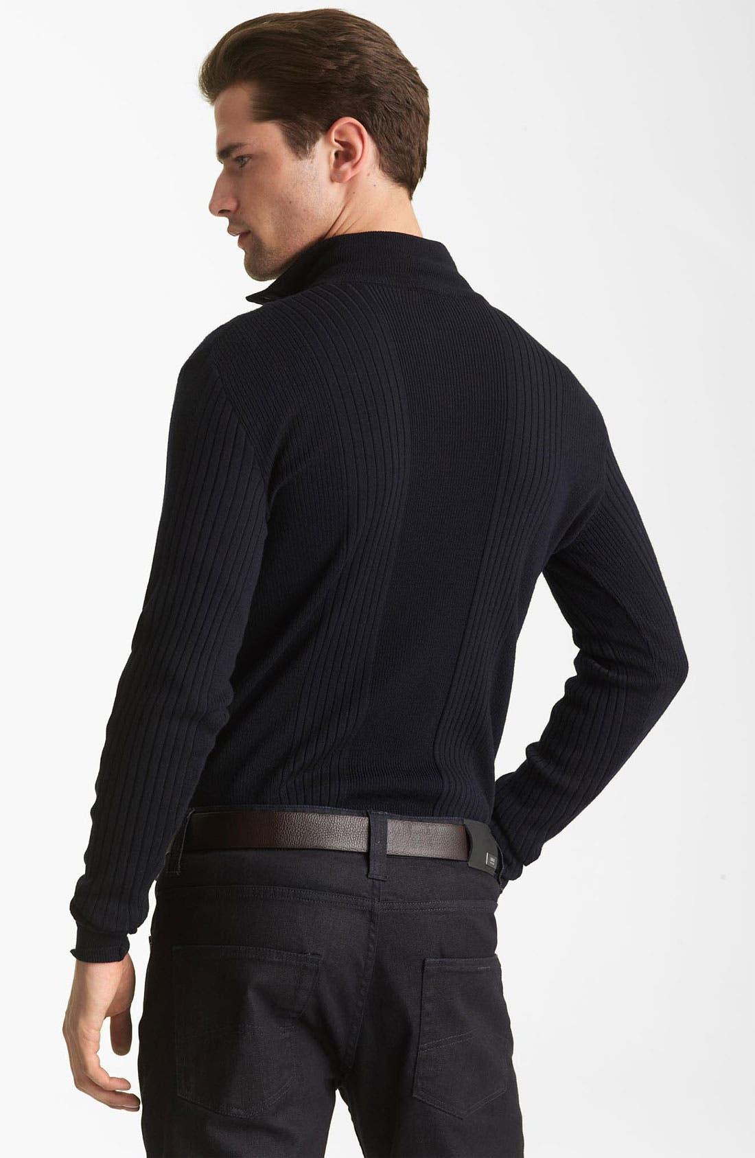 Alternate Image 2  - Armani Collezioni Rib Knit Mock Neck Sweater
