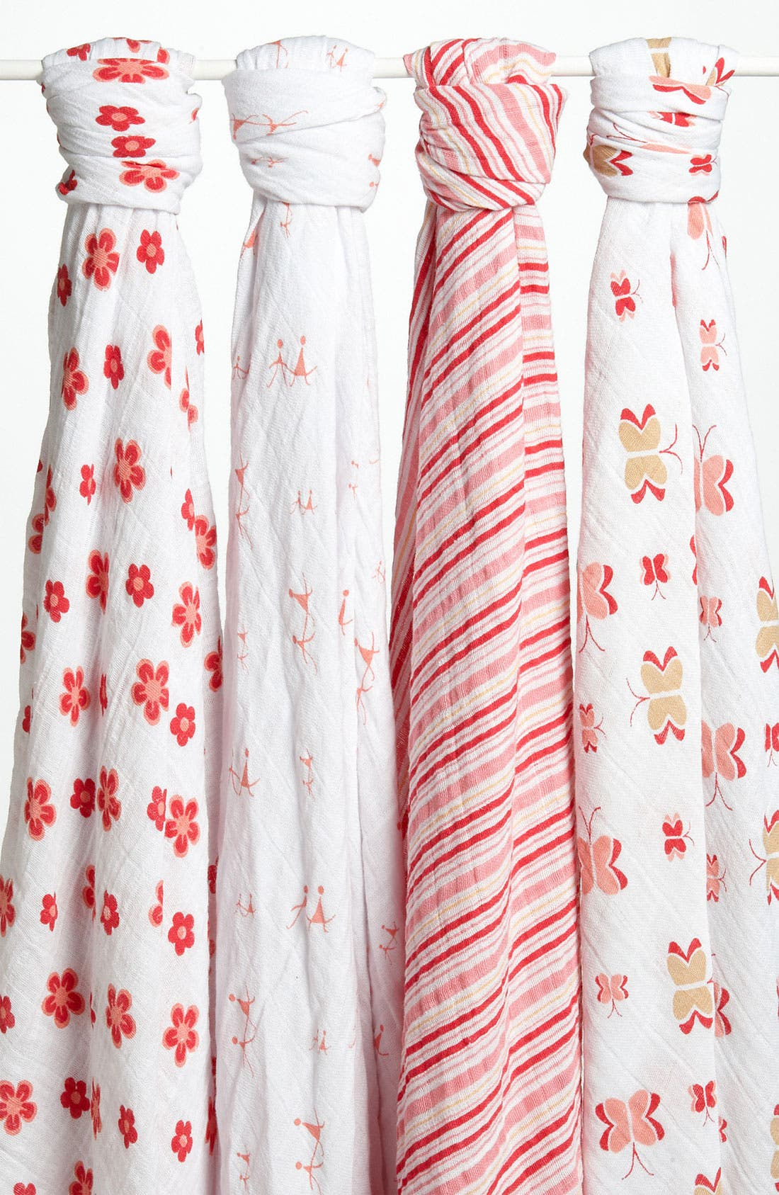 Set of 4 Classic Swaddling Cloths,                         Main,                         color, Princess Posie