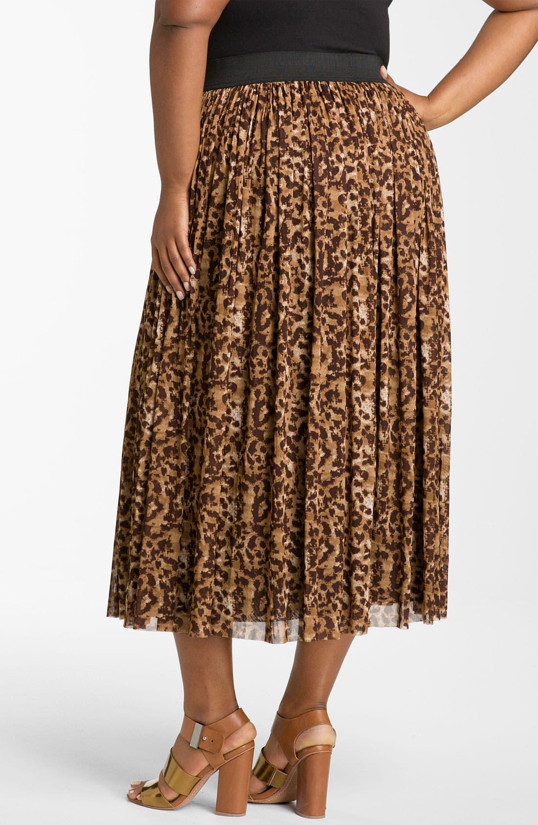 Alternate Image 2  - Vince Camuto 'Textured Spots' Animal Print Skirt (Plus)
