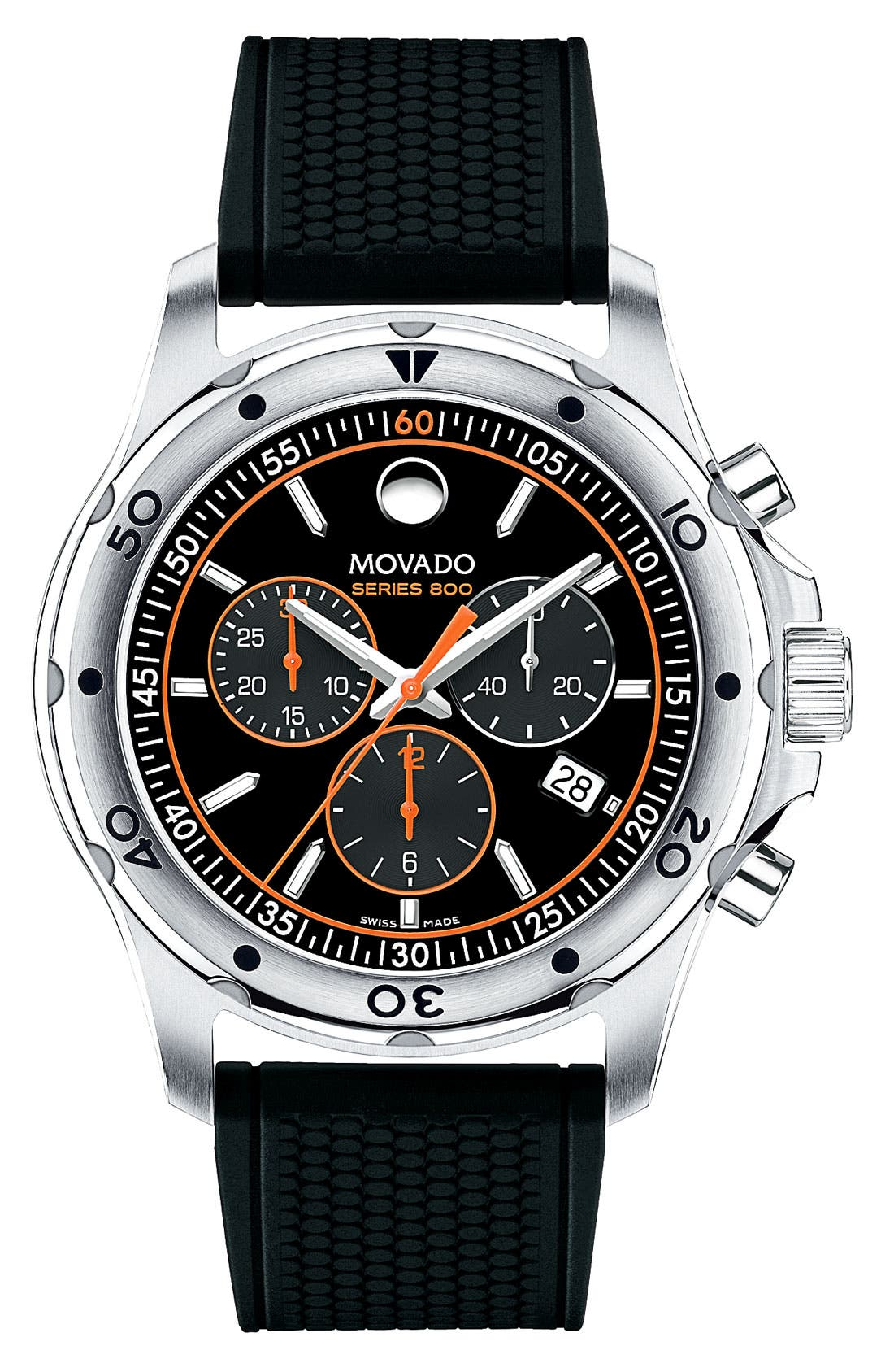 Alternate Image 1 Selected - Movado 'Series 800' Chronograph Rubber Strap Watch