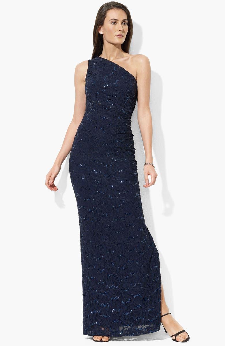 Lauren Ralph Lauren One Shoulder Sequin & Lace Gown | Nordstrom