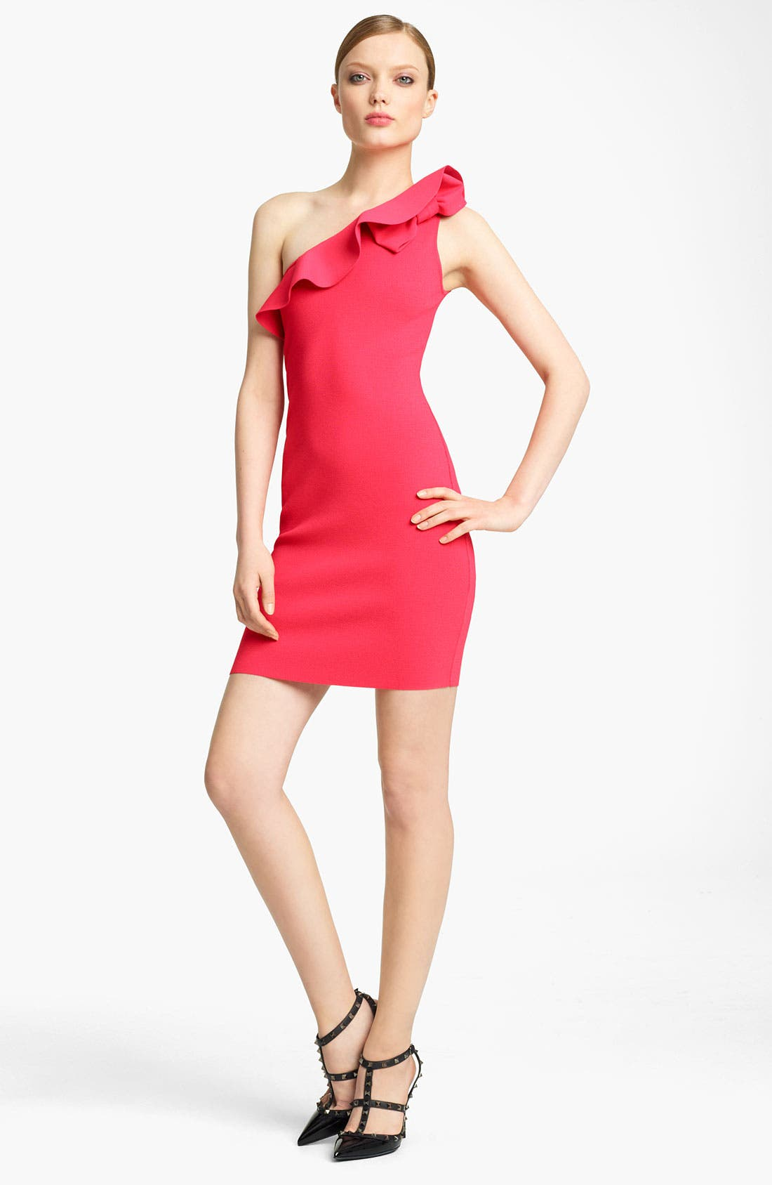 Main Image - Valentino One Shoulder Knit Dress
