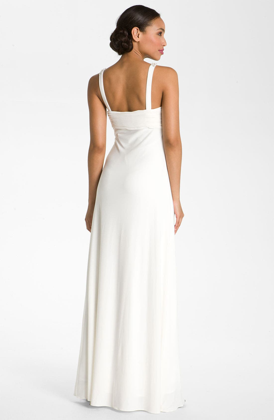 Alternate Image 2  - JS Boutique Pearl Trim Crisscross Matte Jersey Gown
