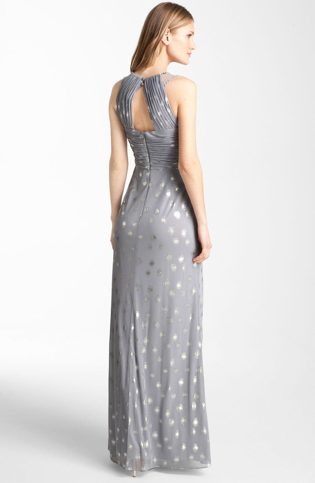 Alternate Image 2  - Adrianna Papell Knot Front Metallic Mesh Gown