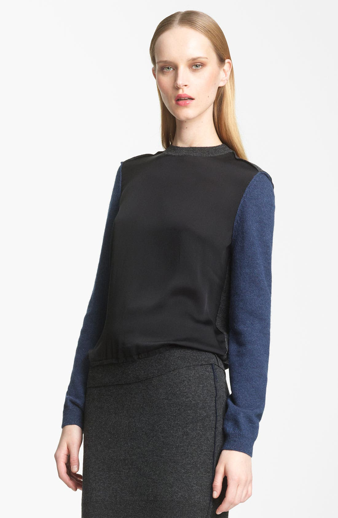 Alternate Image 1 Selected - Lanvin Colorblock Woven & Knit Pullover