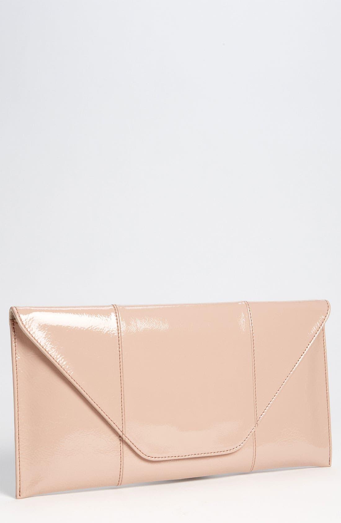 Leather Clutch,                         Main,                         color, Nude Patent