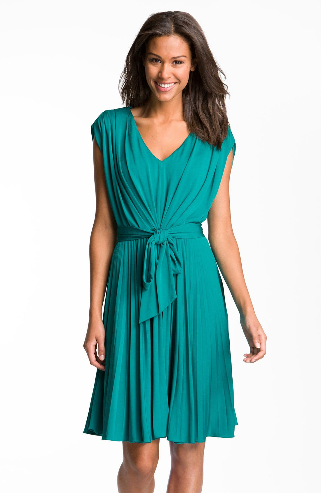 Main Image - Suzi Chin for Maggy Boutique Pleated V-Neck Jersey Dress