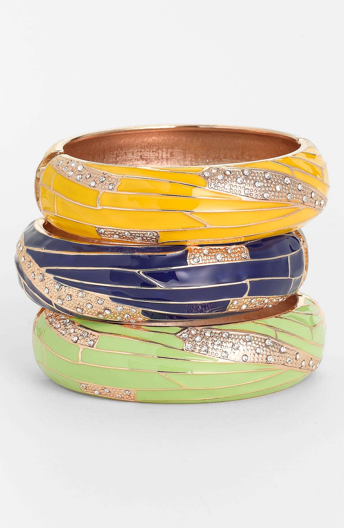 Alternate Image 1 Selected - Sequin Large Insect Wing Enamel Bangle