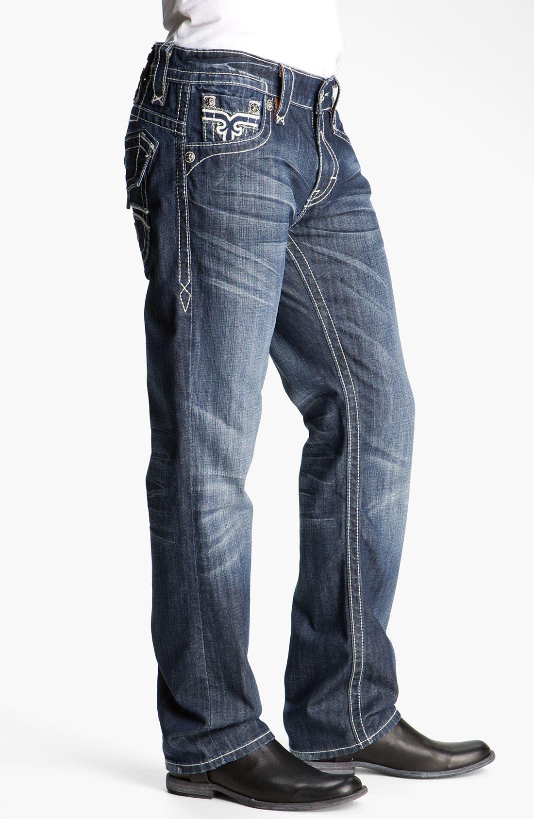 Alternate Image 3  - Rock Revival 'Paul' Straight Leg Jeans (Blue)