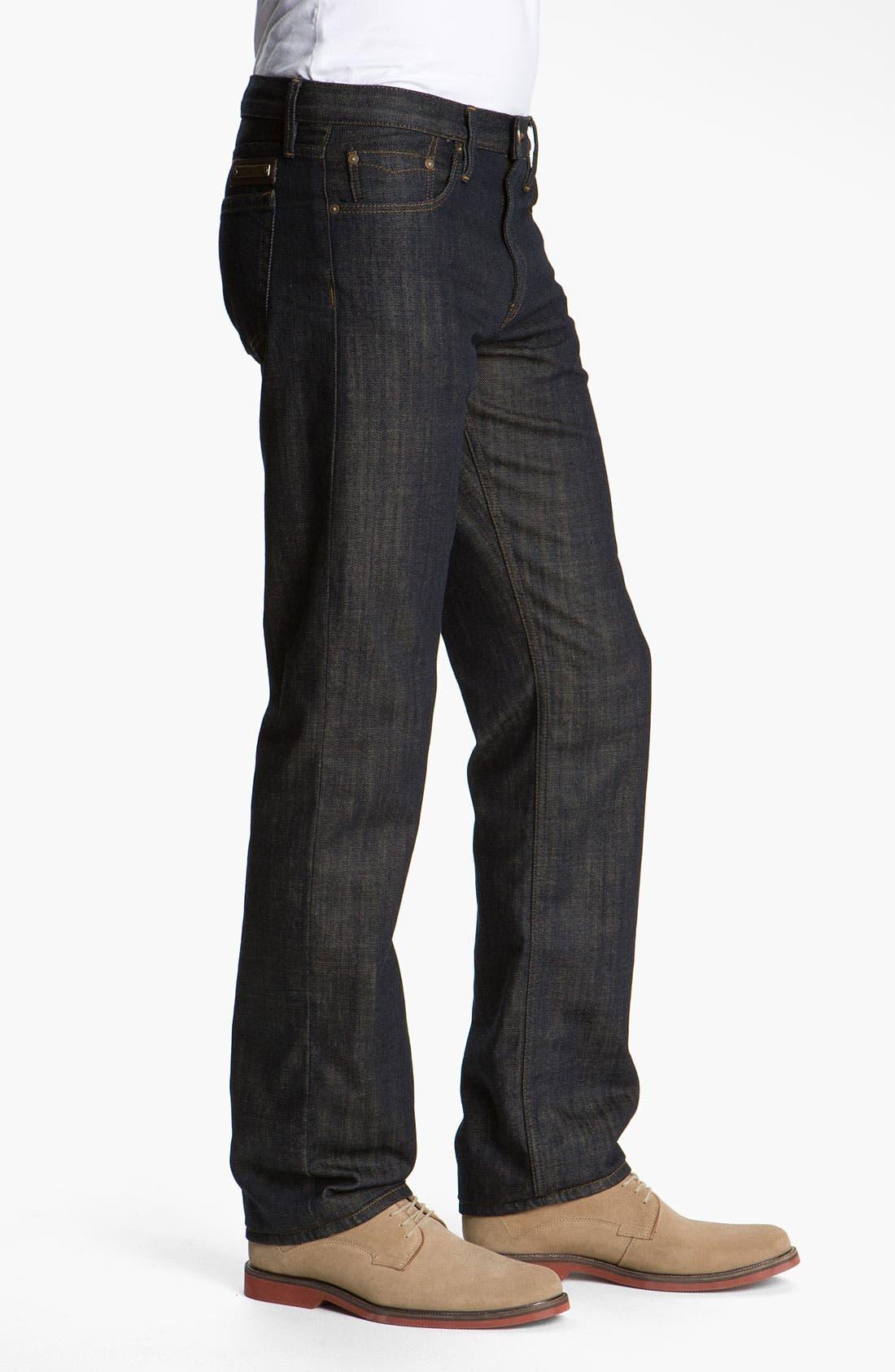 Alternate Image 3  - Burberry Brit 'Cavendish' Resin Washed Denim Jeans (Indigo Blue)