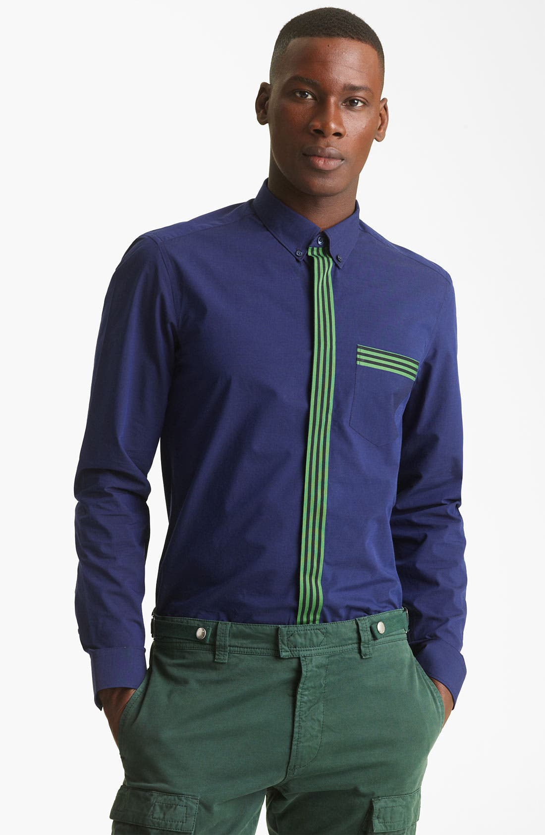 Alternate Image 1 Selected - KENZO Stripe Trim Dress Shirt