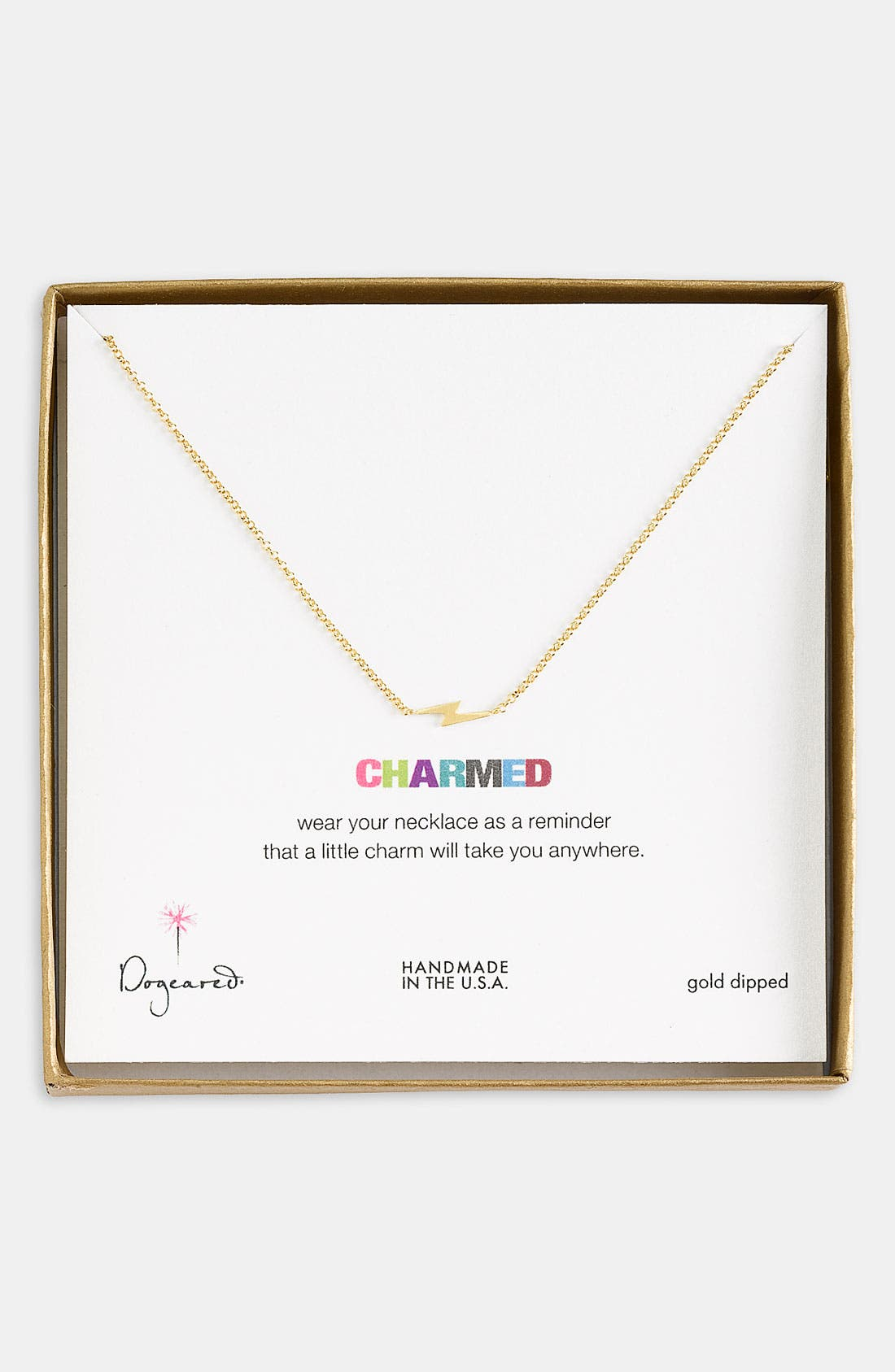 Main Image - Dogeared 'Charmed - Bolt' Pendant Necklace