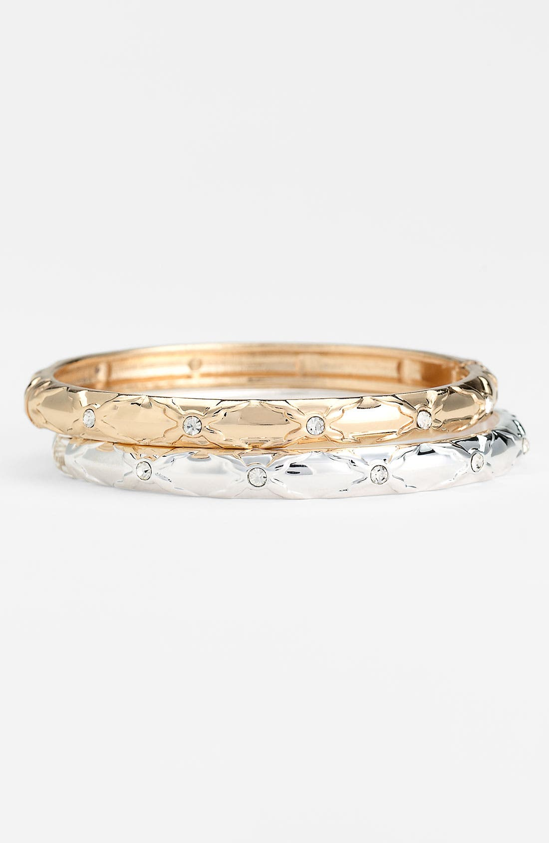 Alternate Image 1 Selected - Sequin Small Crystal Detail Hinged Bangle