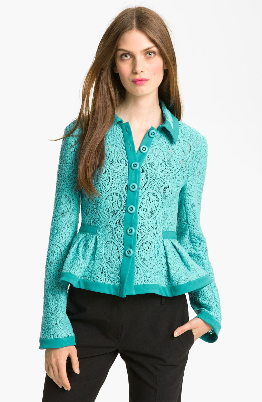 'Summer Flame' Lace Jacket,                         Main,                         color, Seaside