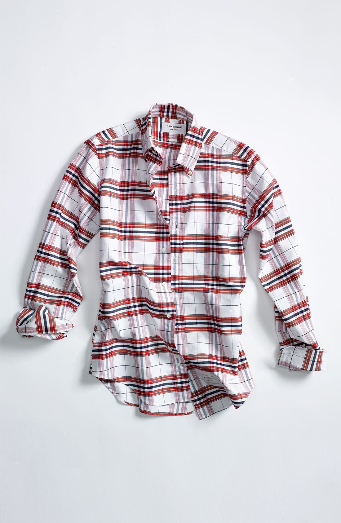 Plaid Oxford Shirt,                             Alternate thumbnail 4, color,                             White/ Red/ Blue Plaid