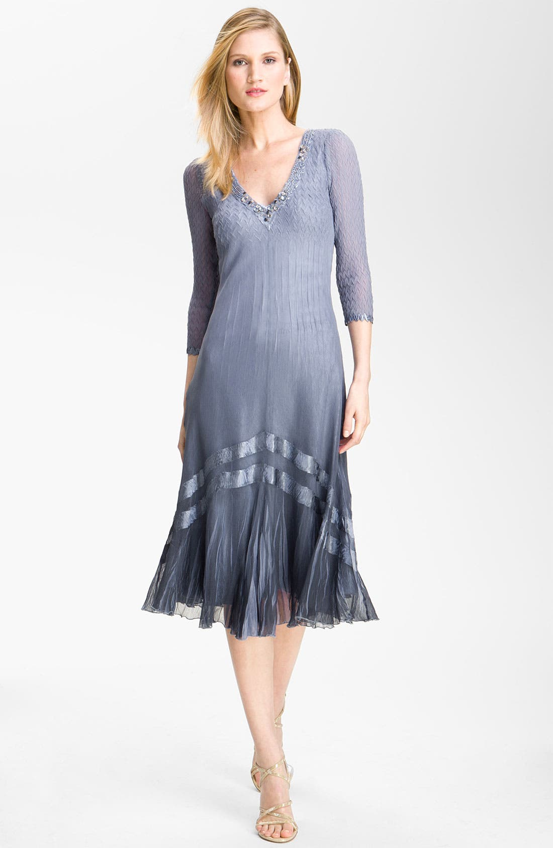 Alternate Image 1 Selected - Komarov Embellished Three-Quarter-Sleeve Chiffon Dress