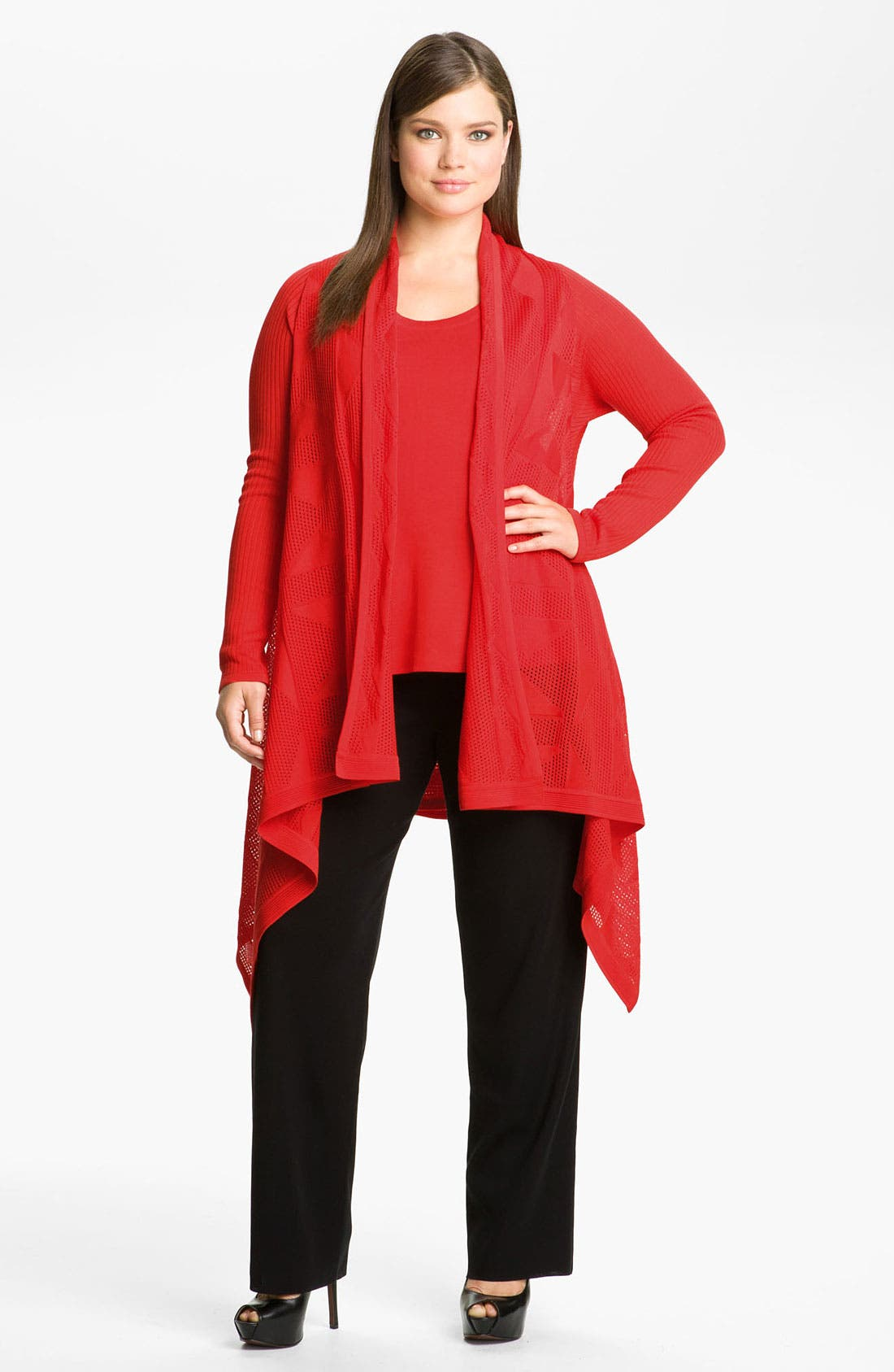 Main Image - Exclusively Misook Sheer Drape Front Cardigan (Plus)