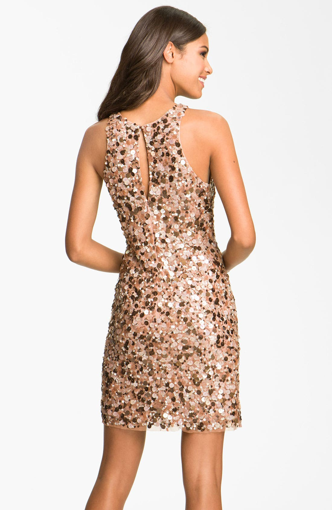 Alternate Image 2  - Aidan Mattox Sequin High Collar Sheath Dress