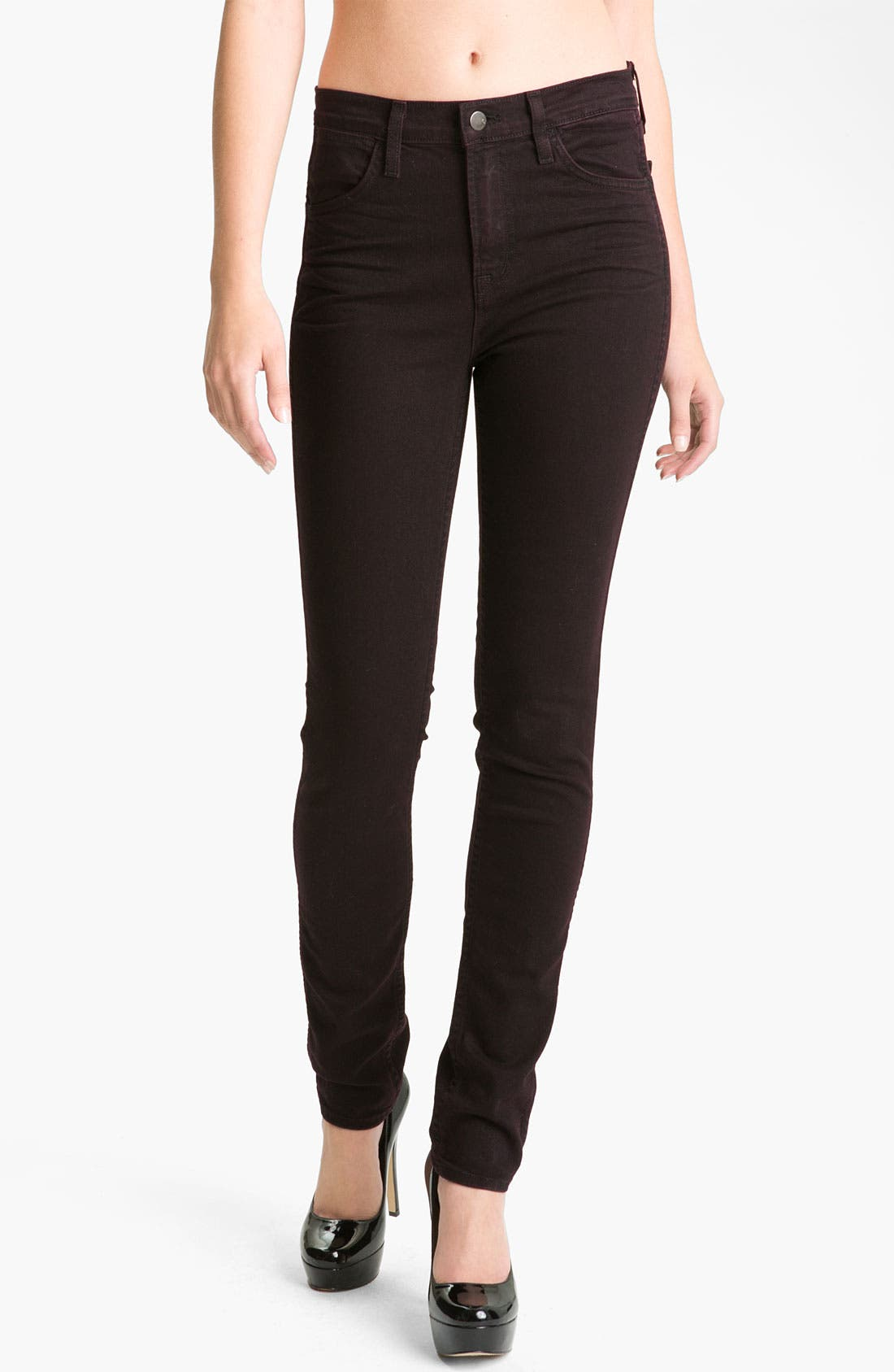 Alternate Image 1 Selected - J Brand 'Sasha' High Rise Skinny Jeans (Noir Red)
