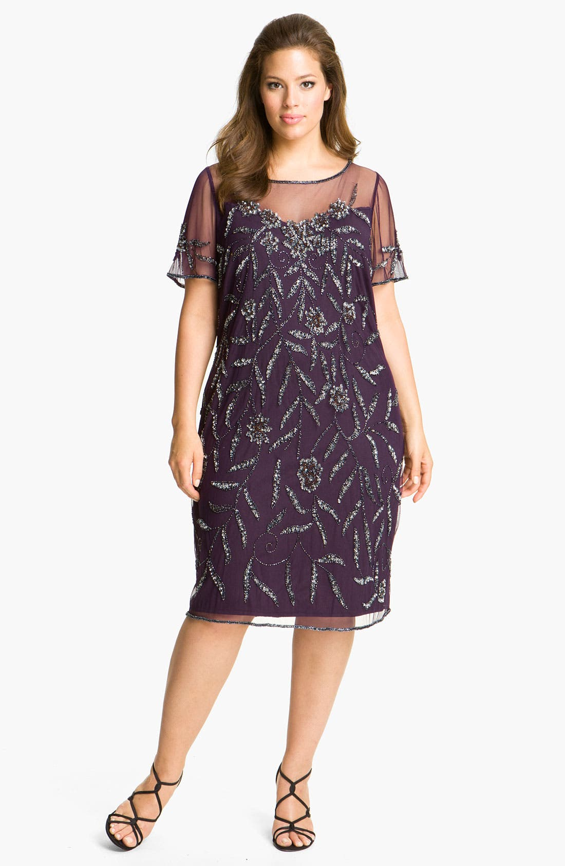 Main Image - Pisarro Nights Beaded Illusion Dress (Plus)
