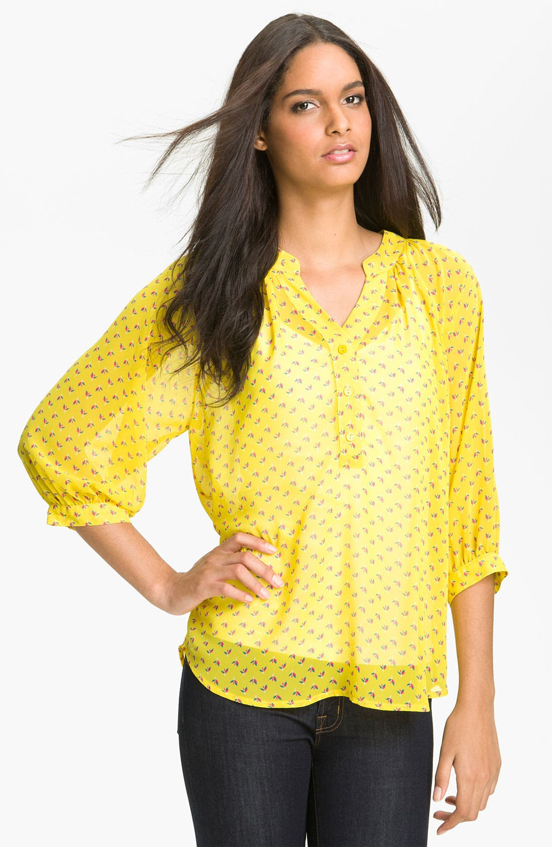 Main Image - Olivia Moon Sheer Print Henley Blouse