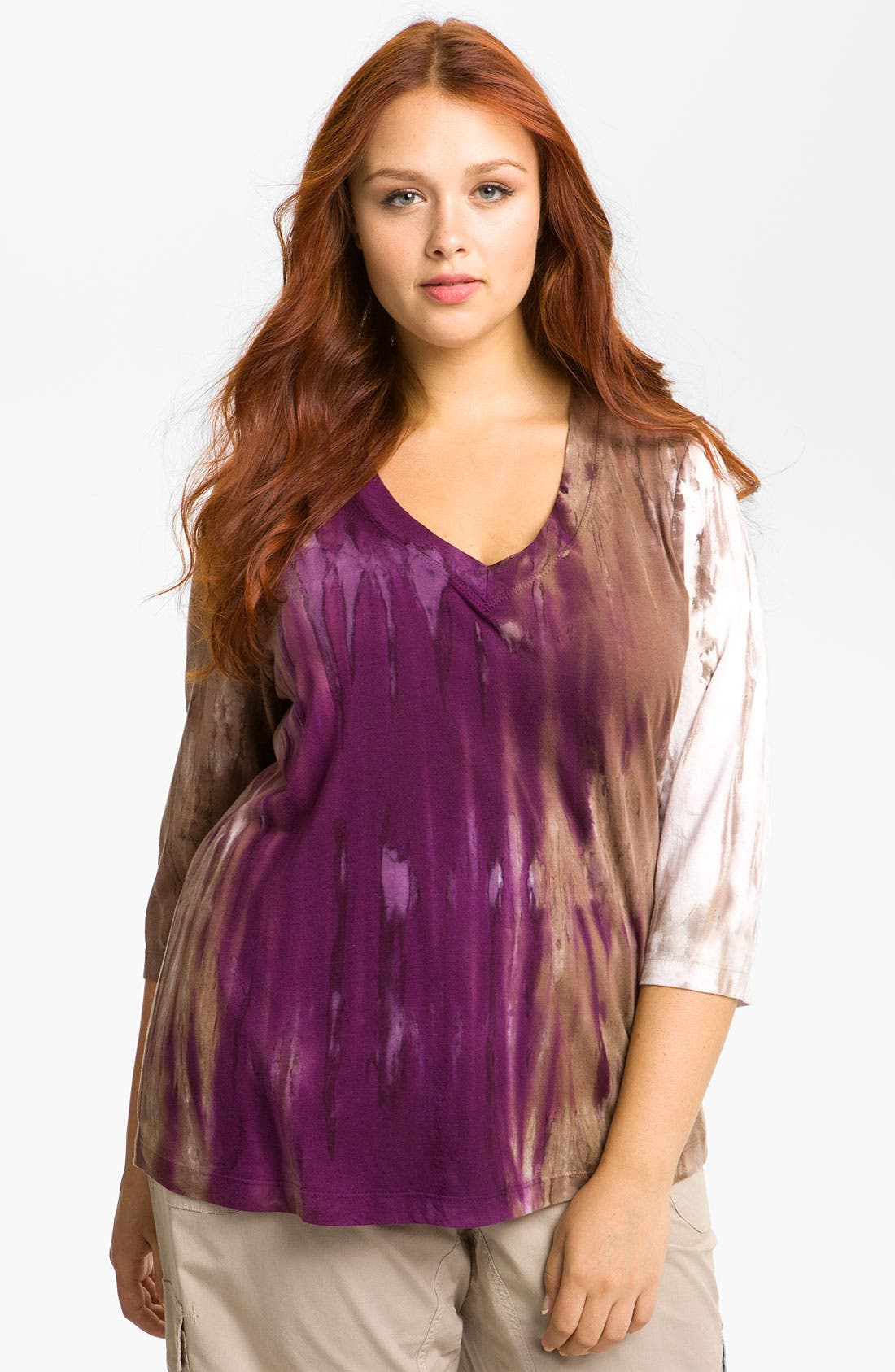 Alternate Image 1 Selected - XCVI Wearables Burnout V-Neck Top (Plus)