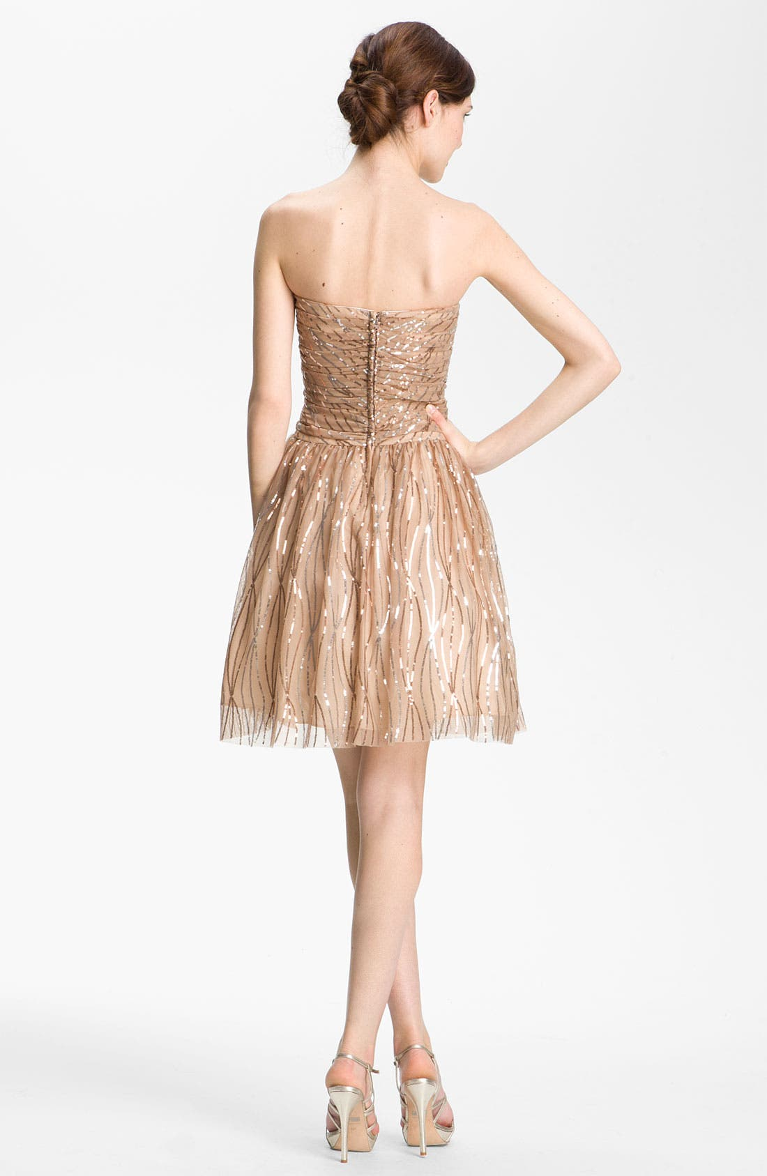 Alternate Image 2  - Hailey by Adrianna Papell Strapless Sequined Mesh Dress