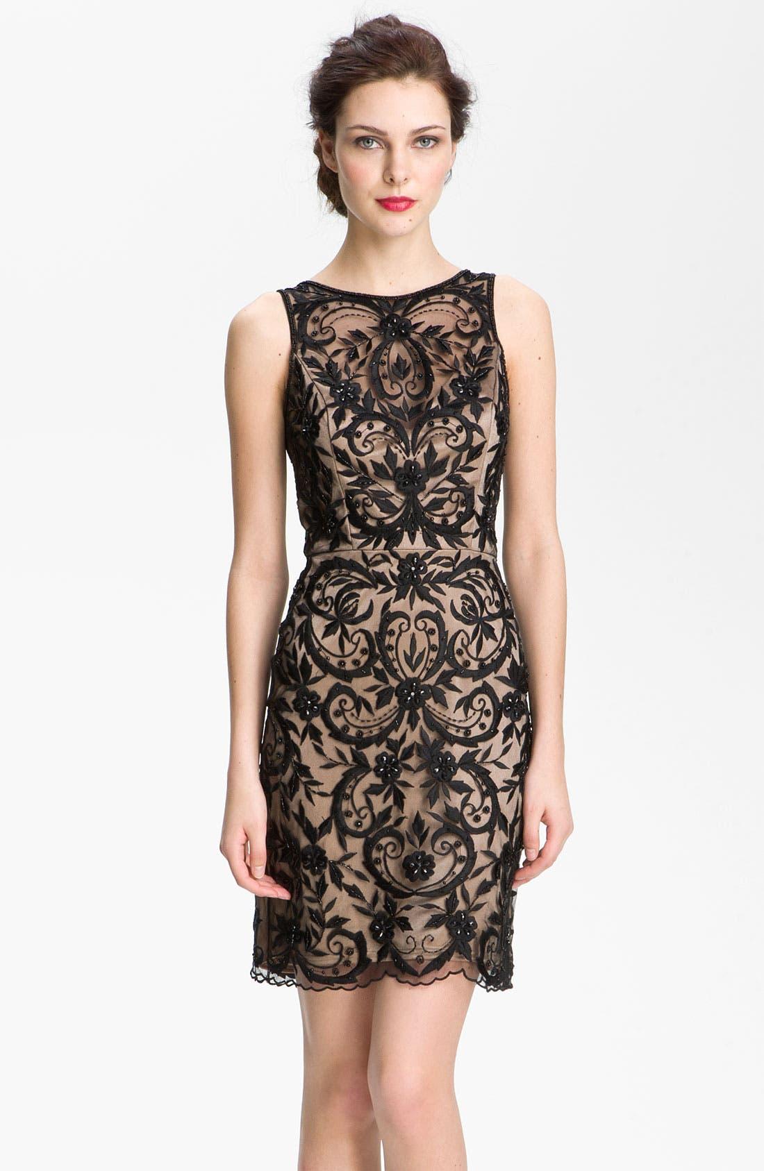 Alternate Image 1 Selected - Sue Wong Embroidered Overlay V-Back Sheath Dress