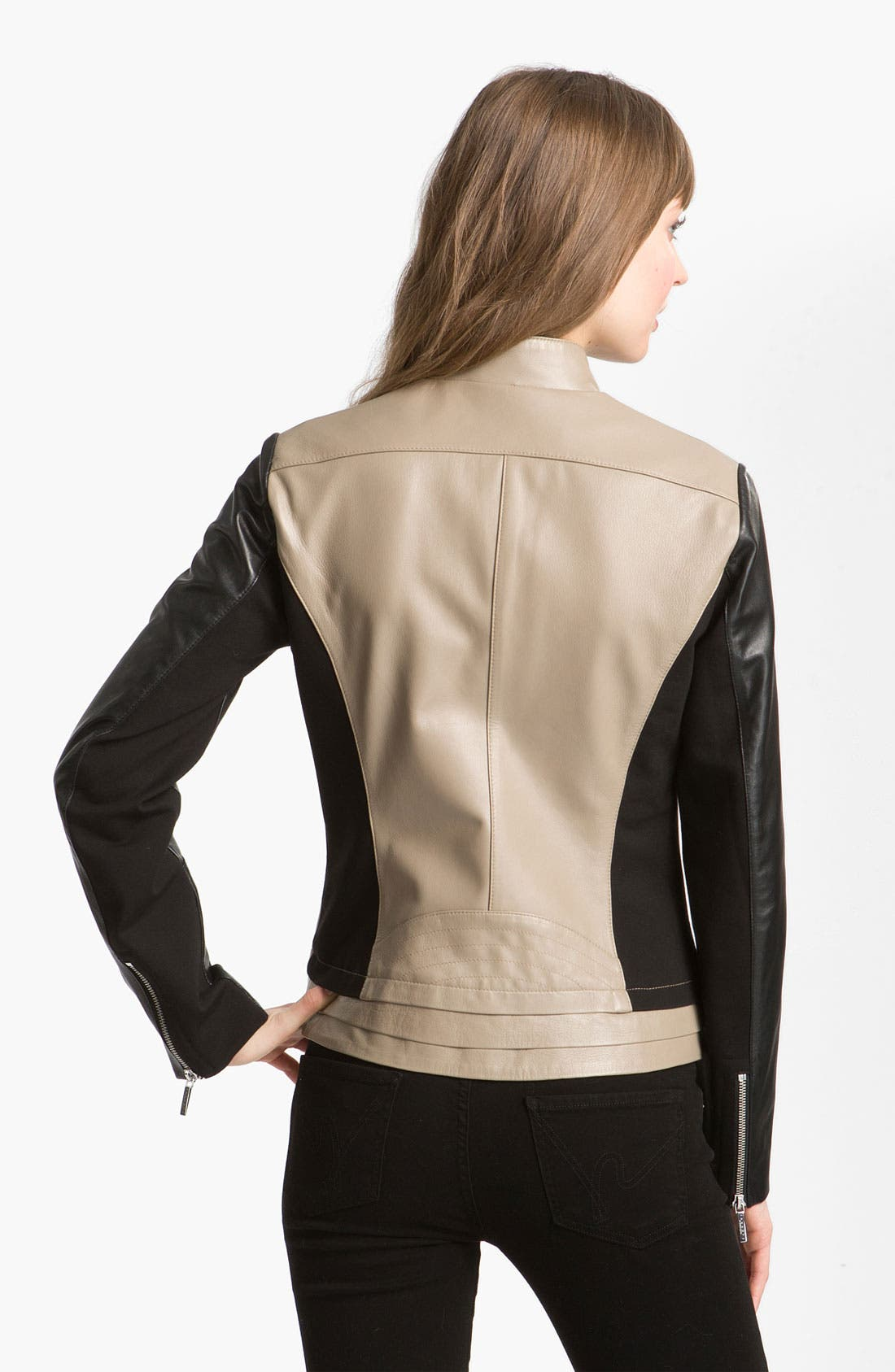 Alternate Image 2  - Laundry by Shelli Segal Asymmetrical Zip Colorblock Leather Jacket