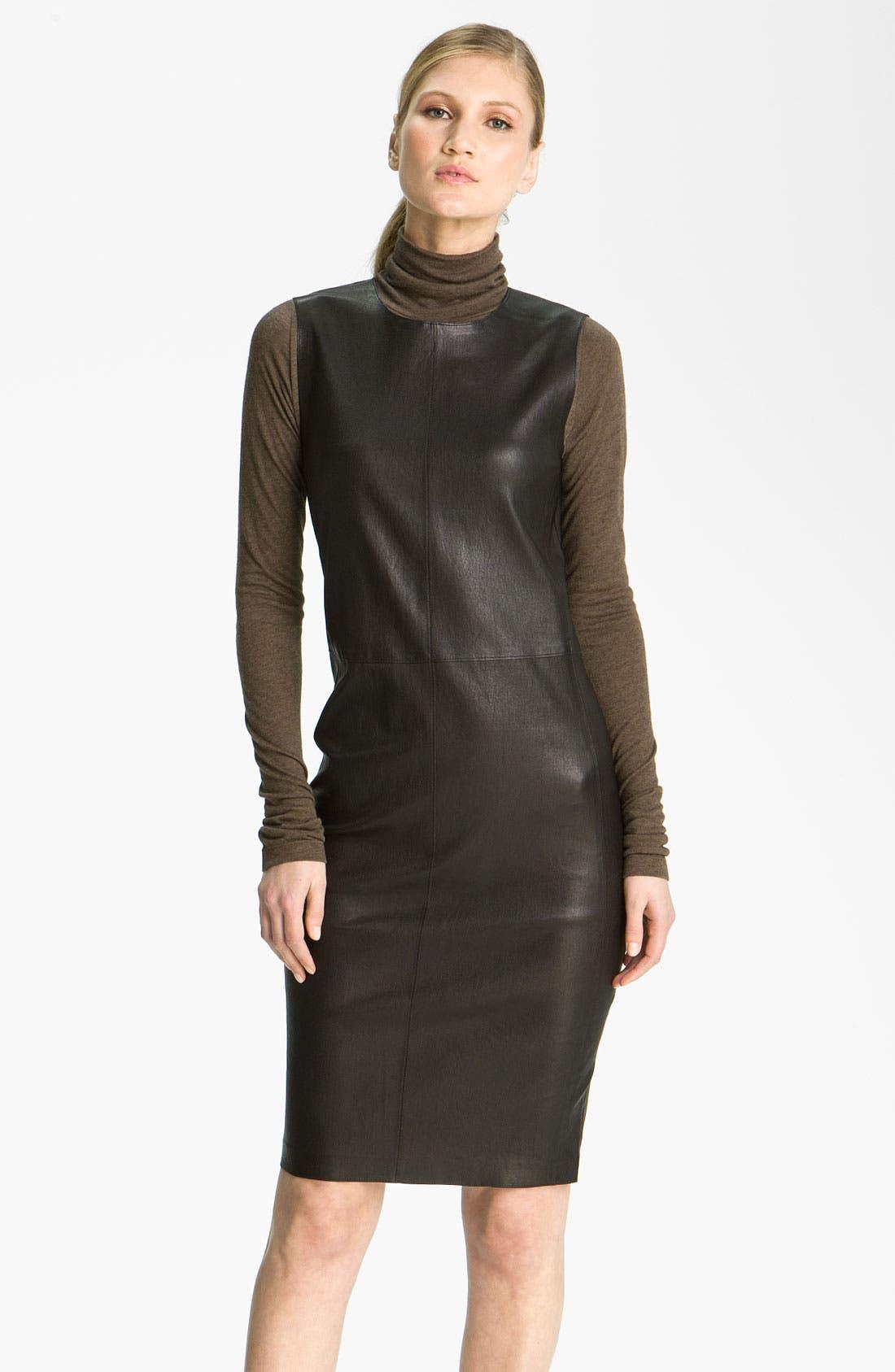 Main Image - Vince Stretch Leather Sheath Dress