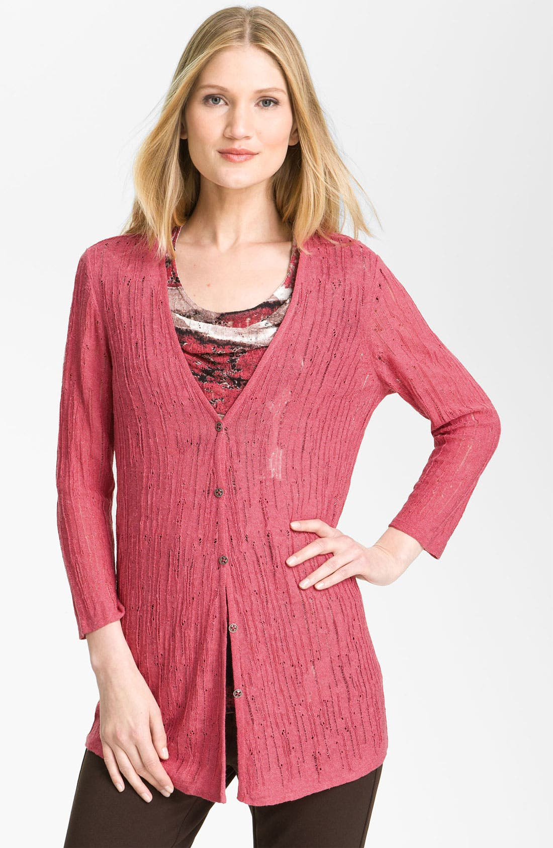 Alternate Image 1 Selected - Nic + Zoe Drop Stitch Knit Cardigan