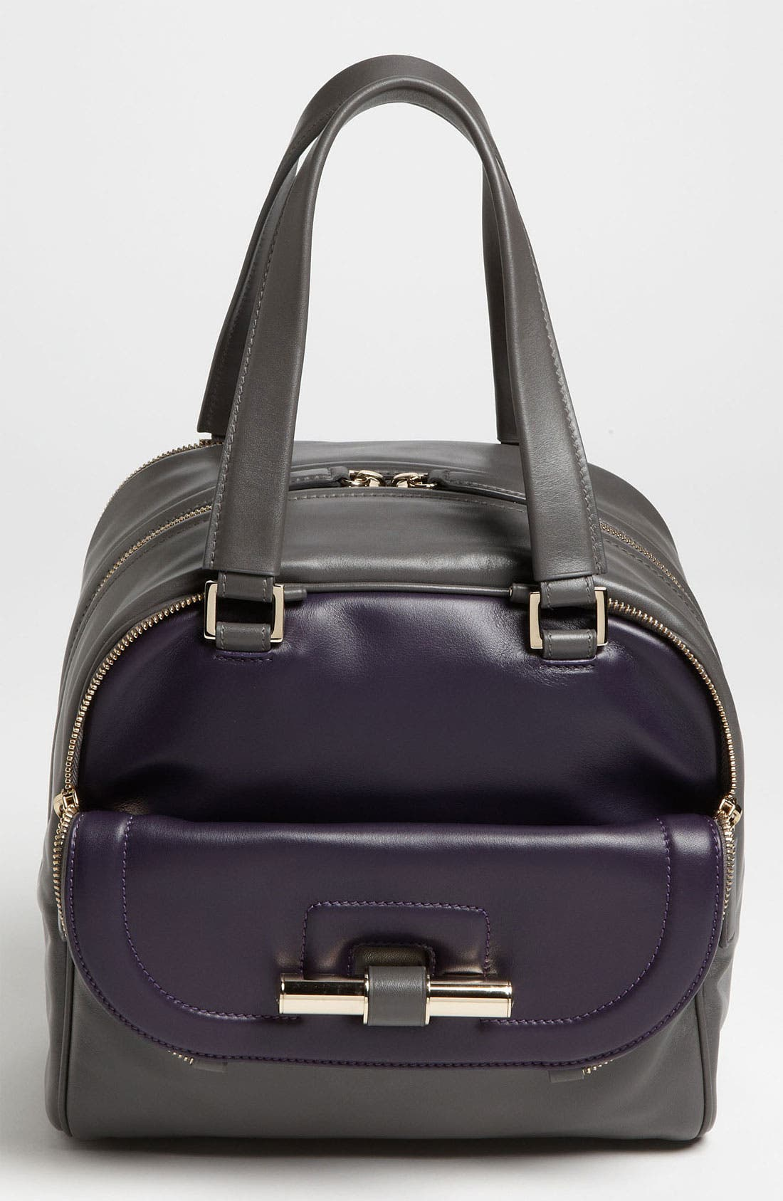 Alternate Image 1 Selected - Jimmy Choo 'Justine - Small' Bicolor Leather Satchel