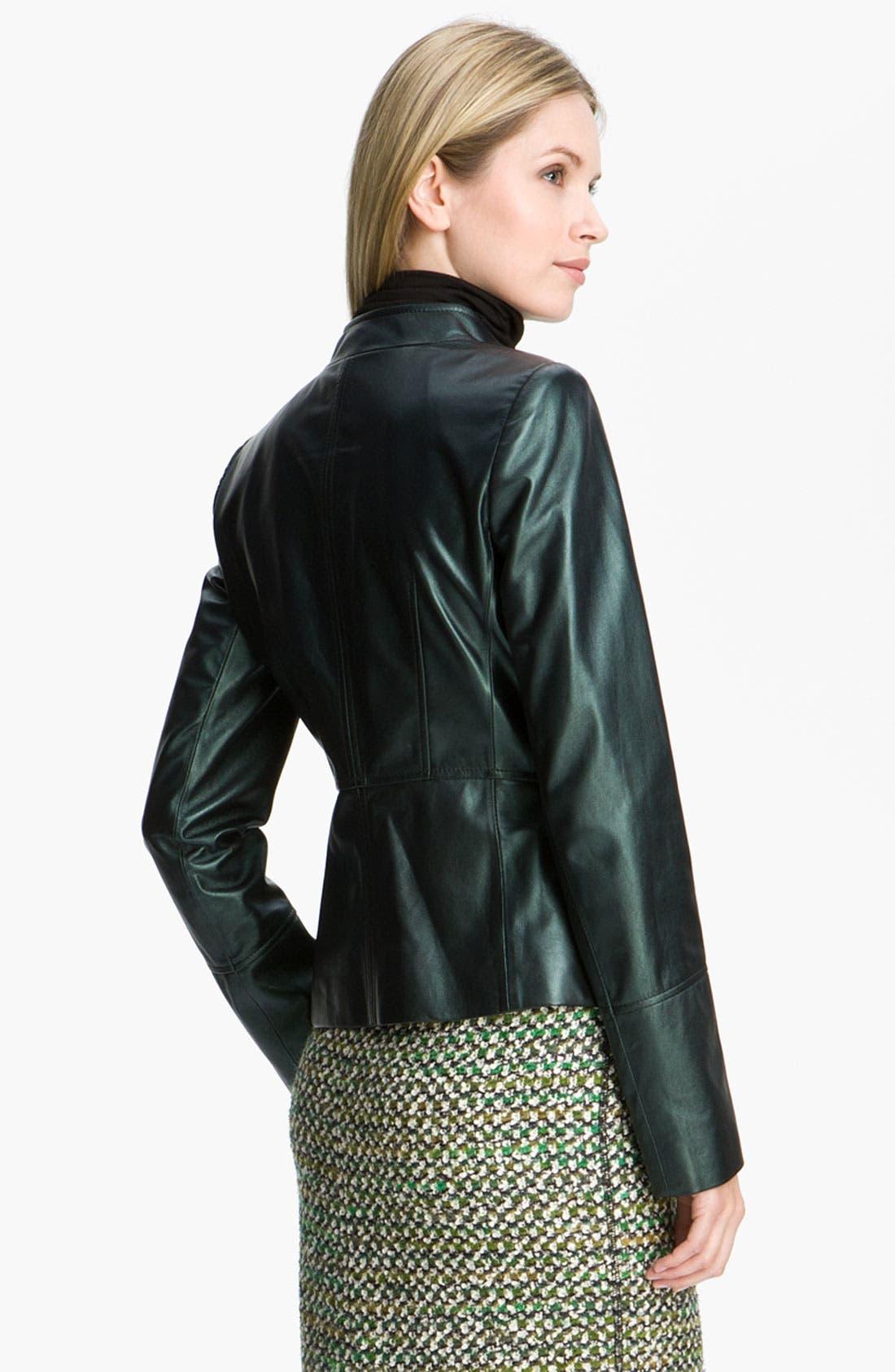 Alternate Image 2  - Lafayette 148 New York Pearlized Leather Jacket