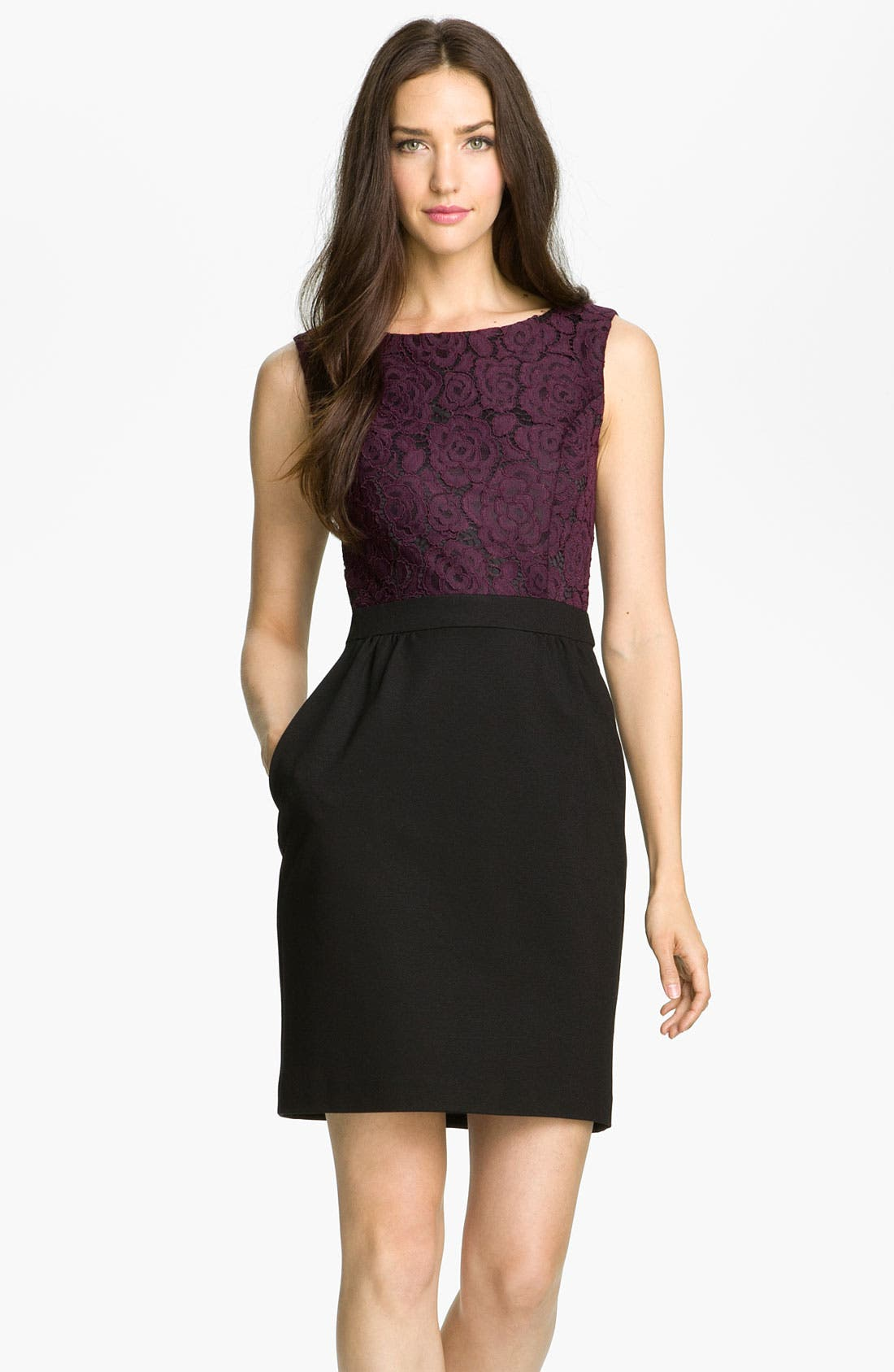 Alternate Image 1 Selected - Trina Turk 'Fable' Lace & Ponte Sheath Dress