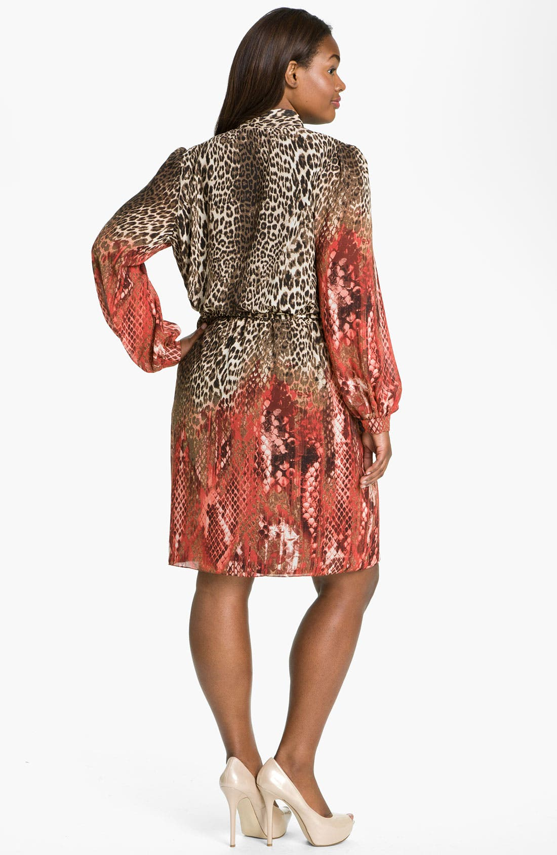 Alternate Image 5  - Donna Ricco Animal Print Surplice Chiffon Dress (Plus Size)