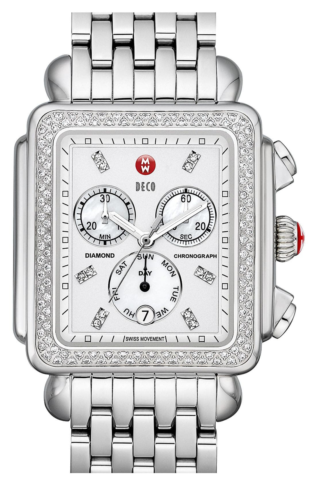 Alternate Image 3  - MICHELE 'Deco XL Diamond' Diamond Dial Watch Case, 37mm x 38mm